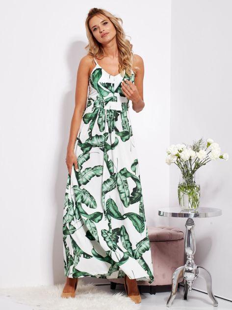 Biało-zielona maxi sukienka w liście z wiązaniem                              zdj.                              3