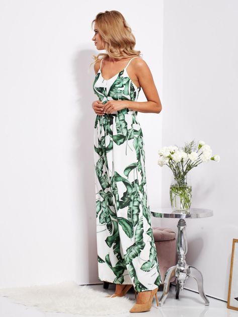 Biało-zielona maxi sukienka w liście z wiązaniem                              zdj.                              8