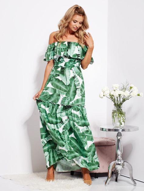 Biało-zielona sukienka hiszpanka maxi w tropikalne liście                              zdj.                              11