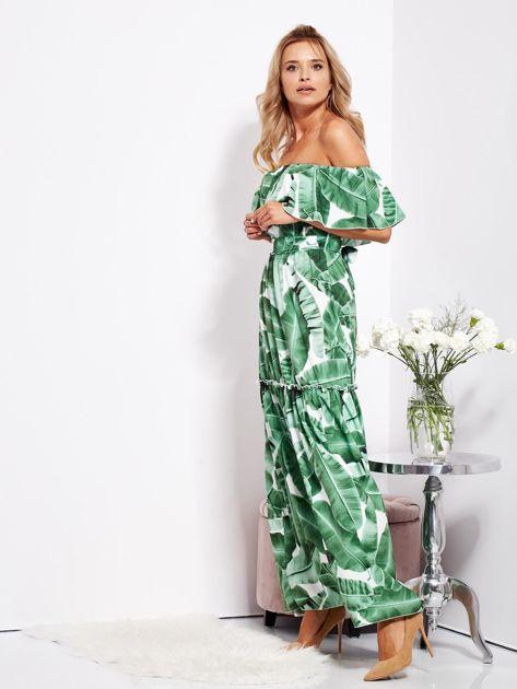 SCANDEZZA Biało-zielona sukienka hiszpanka maxi w tropikalne liście                              zdj.                              8