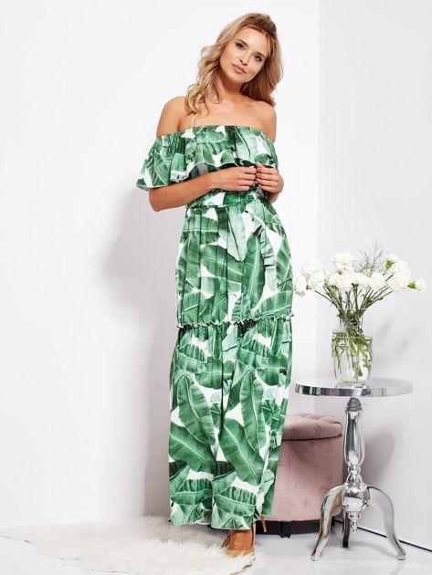 Biało-zielona sukienka hiszpanka maxi w tropikalne liście                              zdj.                              9
