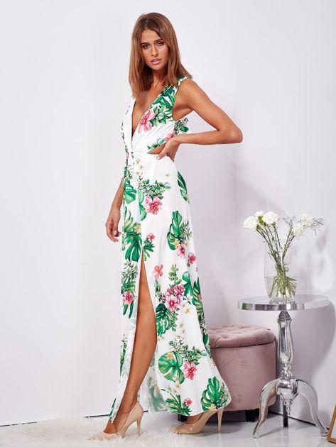 SCANDEZZA Biało-zielona sukienka maxi floral print z rozcięciem                              zdj.                              5