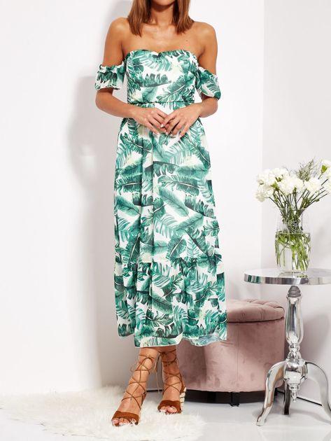 SCANDEZZA Biało-zielona sukienka maxi off shoulder w liście                              zdj.                              2