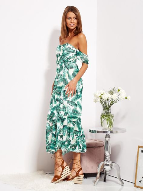 SCANDEZZA Biało-zielona sukienka maxi off shoulder w liście                              zdj.                              3