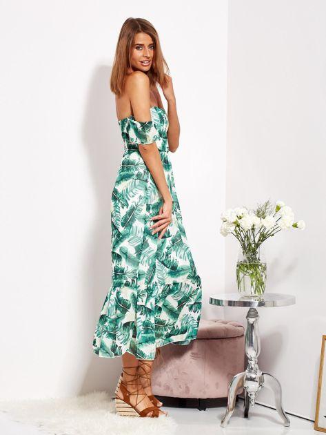 SCANDEZZA Biało-zielona sukienka maxi off shoulder w liście                              zdj.                              7