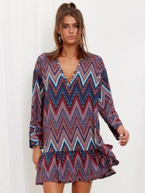 Bordowo-turkusowa sukienka w geometryczny nadruk                              zdj.                              4