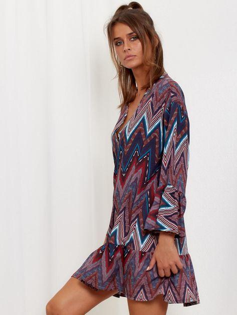 Bordowo-turkusowa sukienka w geometryczny nadruk                              zdj.                              3