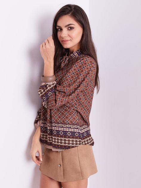 SCANDEZZA Brązowa koszula w etniczne wzory                              zdj.                              5