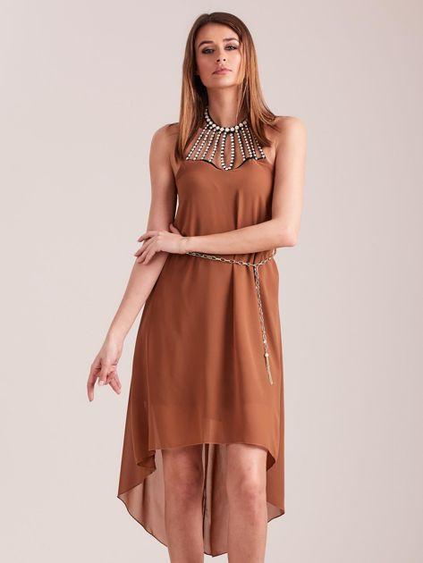 SCANDEZZA Brązowa sukienka z aplikacją                              zdj.                              3