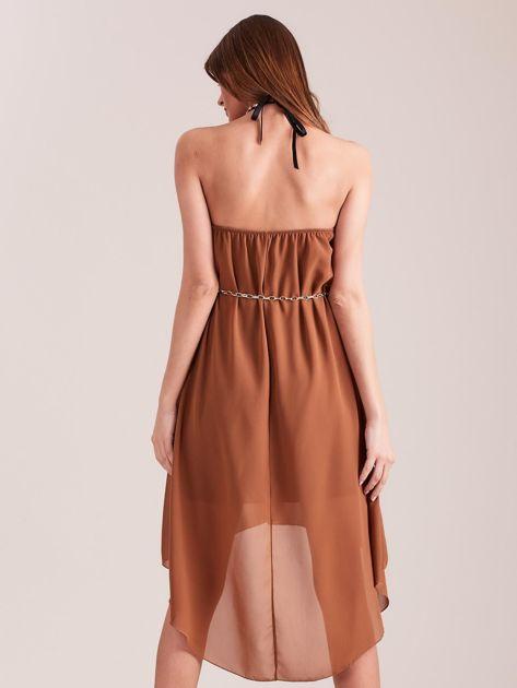 SCANDEZZA Brązowa sukienka z aplikacją                              zdj.                              4