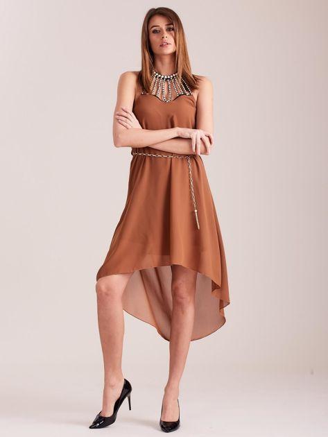 SCANDEZZA Brązowa sukienka z aplikacją                              zdj.                              5