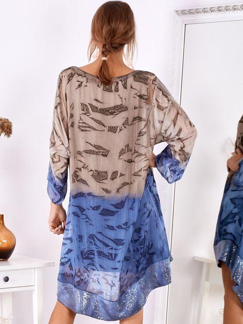 Brązowo-niebieska sukienka ombre z jedwabiem                              zdj.                              3
