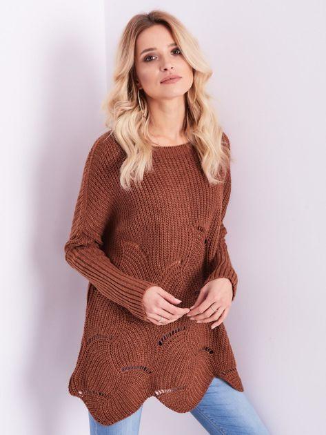 SCANDEZZA Brązowy luźny sweter z ażurowaniem                              zdj.                              7