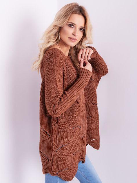 SCANDEZZA Brązowy luźny sweter z ażurowaniem                              zdj.                              9