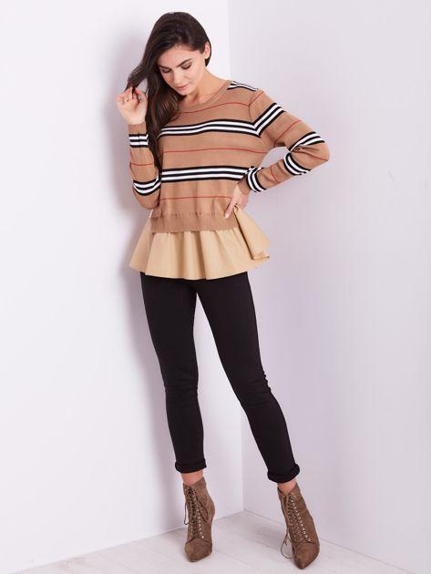 SCANDEZZA Brązowy sweter z koszulą                              zdj.                              11
