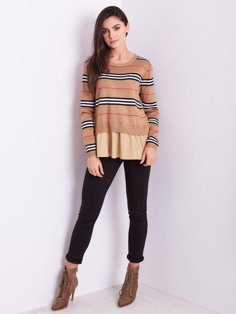 SCANDEZZA Brązowy sweter z koszulą                              zdj.                              1