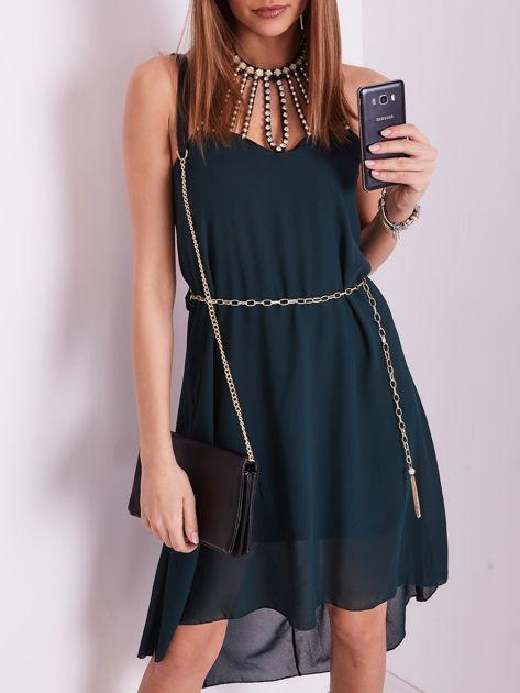 SCANDEZZA Ciemnozielona sukienka z aplikacją                              zdj.                              1