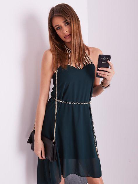 SCANDEZZA Ciemnozielona sukienka z aplikacją                              zdj.                              8