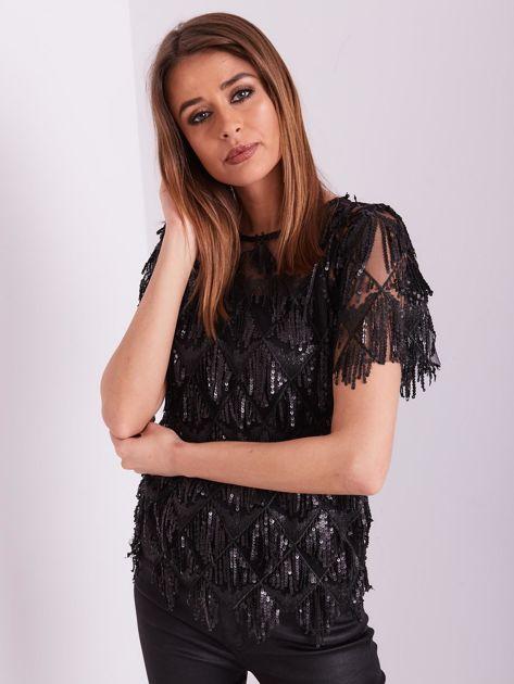 Czarna cekinowa bluzka                              zdj.                              8