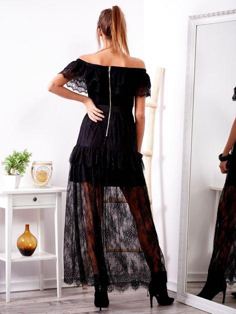 SCANDEZZA Czarna długa koronkowa sukienka                              zdj.                              2
