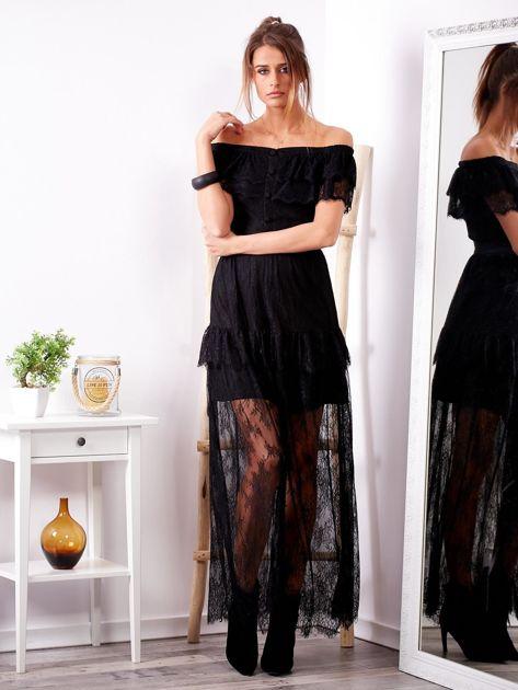 SCANDEZZA Czarna długa koronkowa sukienka                              zdj.                              4
