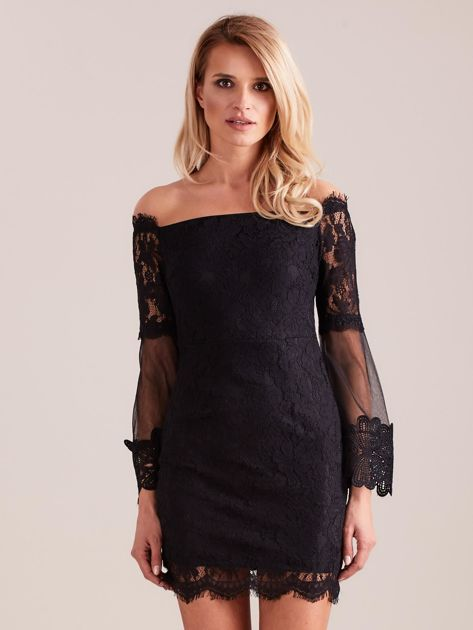 Czarna koronkowa sukienka                              zdj.                              4