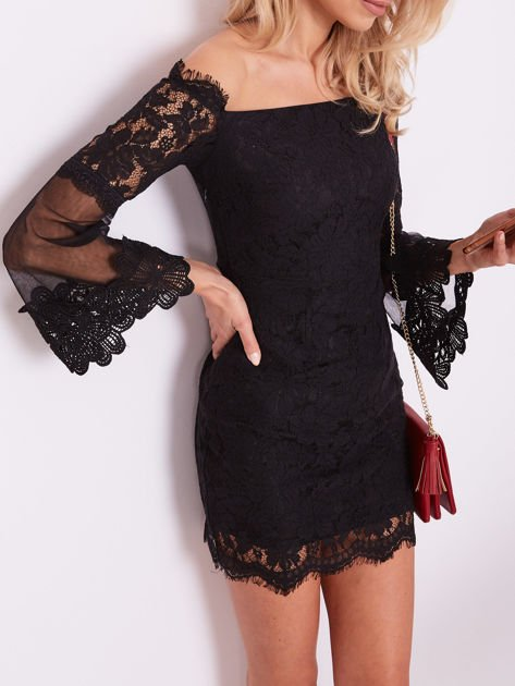 Czarna koronkowa sukienka                              zdj.                              2