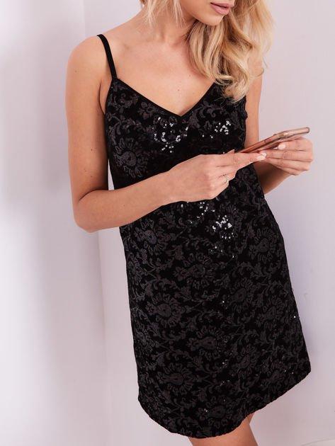 SCANDEZZA Czarna sukienka mini                               zdj.                              2