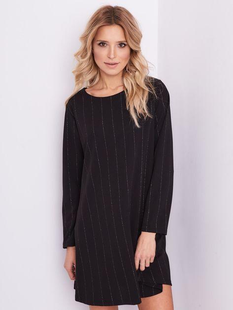 SCANDEZZA Czarna sukienka o luźnym kroju                              zdj.                              3