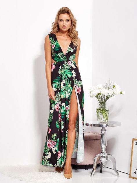 SCANDEZZA Czarna sukienka w kwiaty z rozcięciem i wiązaniem                              zdj.                              1