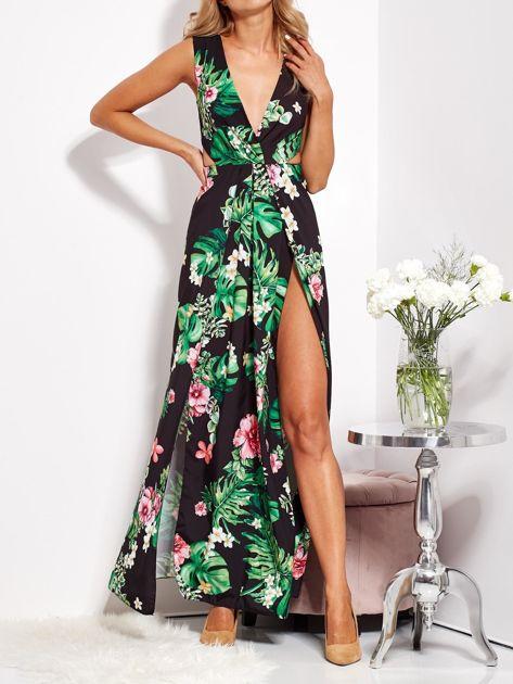 SCANDEZZA Czarna sukienka w kwiaty z rozcięciem i wiązaniem                              zdj.                              2