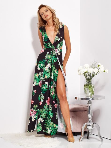 Czarna sukienka w kwiaty z rozcięciem i wiązaniem                              zdj.                              3