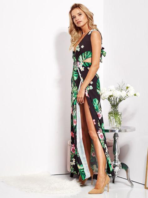 SCANDEZZA Czarna sukienka w kwiaty z rozcięciem i wiązaniem                              zdj.                              8