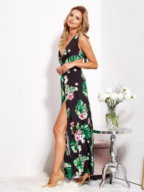 SCANDEZZA Czarna sukienka w kwiaty z rozcięciem i wiązaniem                              zdj.                              9