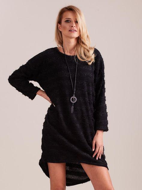 SCANDEZZA Czarna sukienka w paski                              zdj.                              2