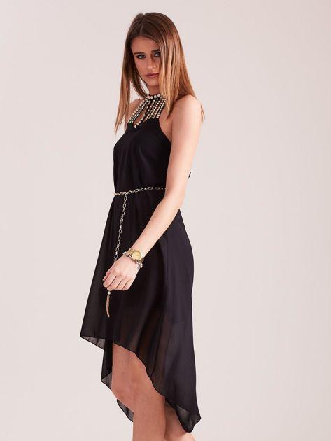 SCANDEZZA Czarna sukienka z aplikacją                              zdj.                              4