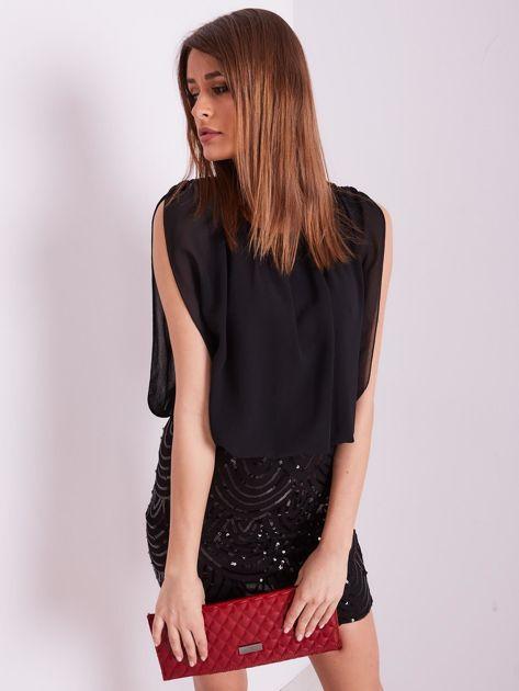 SCANDEZZA Czarna sukienka z cekinami                              zdj.                              7
