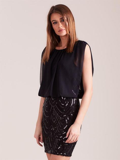 SCANDEZZA Czarna sukienka z cekinami                              zdj.                              4