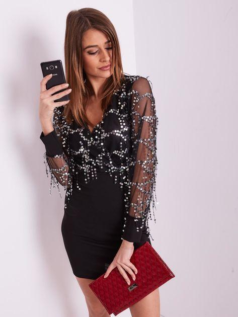 SCANDEZZA Czarna sukienka z cekinami                              zdj.                              6
