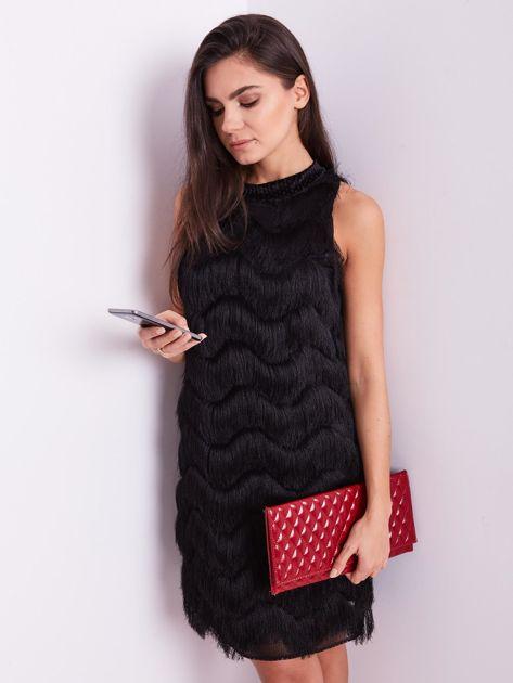 Czarna sukienka z frędzlami                               zdj.                              5