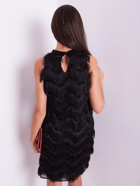 SCANDEZZA Czarna sukienka z frędzlami                               zdj.                              3