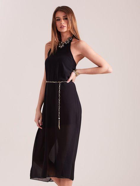 SCANDEZZA Czarna sukienka z ozdobnym dekoltem                              zdj.                              4