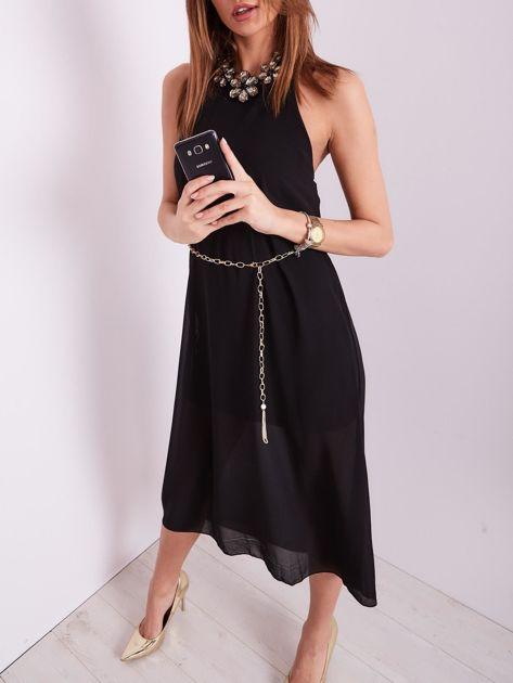 SCANDEZZA Czarna sukienka z ozdobnym dekoltem                              zdj.                              7