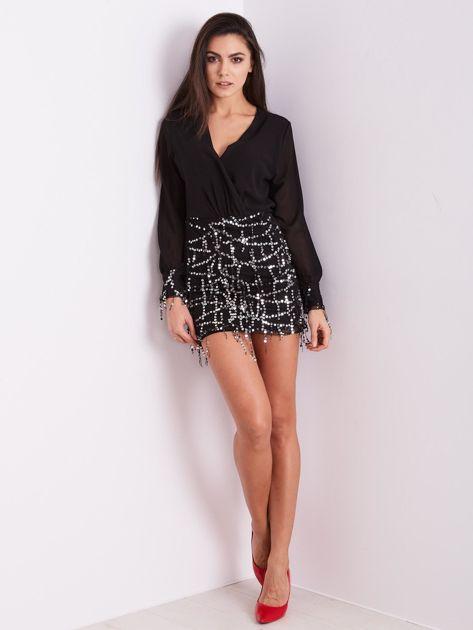 Czarna sukienka ze srebrnymi cekinami                              zdj.                              6