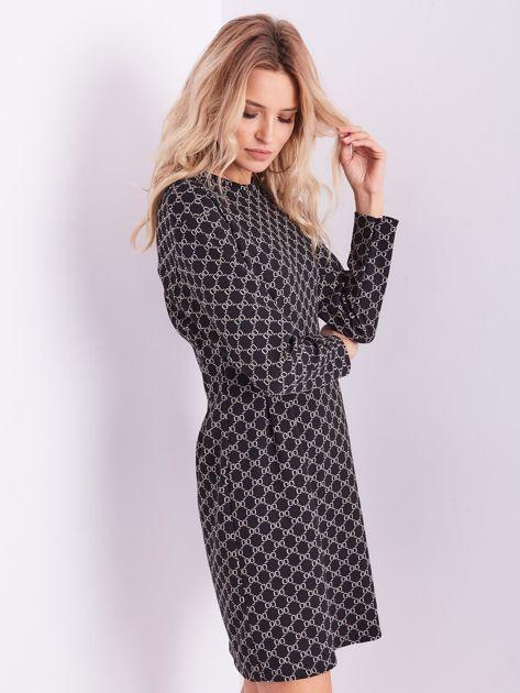 Czarna sukienka ze wzorem                              zdj.                              8