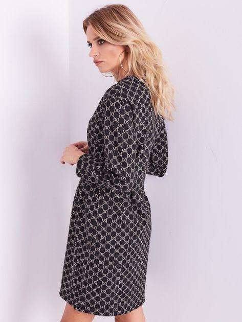 SCANDEZZA Czarna sukienka ze wzorem                              zdj.                              9