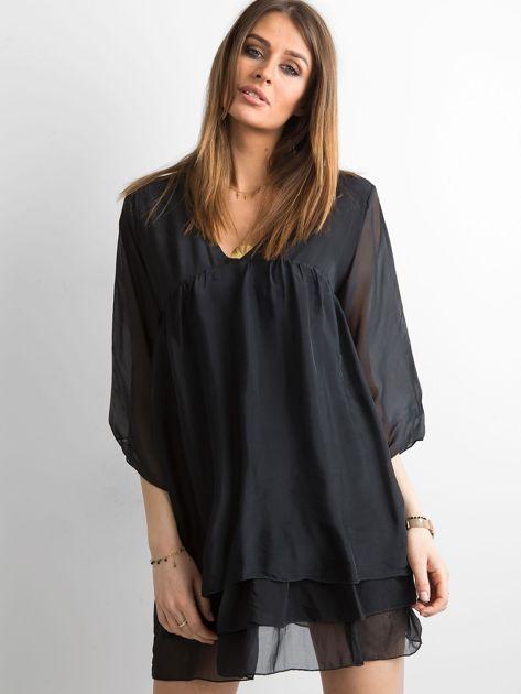 Czarna zwiewna sukienka z falbanami                              zdj.                              1