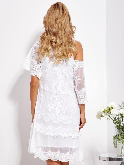 Ecru luźna sukienka z oddzielną halką                              zdj.                              2