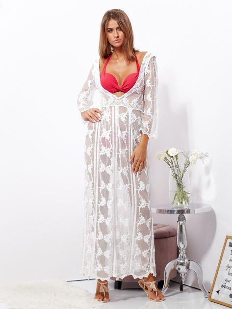 SCANDEZZA Ecru maxi sukienka plażowa z głębokim dekoltem                              zdj.                              1