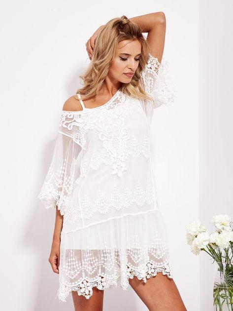 Ecru sukienka koronkowa z halką                              zdj.                              1